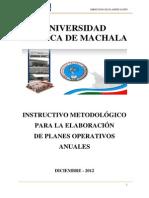 InstructivodeElaboracionparalosPlanesOperativosUTMACH 20 Dic 11