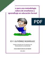 Criterios para una metodología motivadora de enseñanza y aprendizaje en educación formal