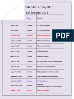 Updated University Calendar 2014-2015 - Dec 24.2014