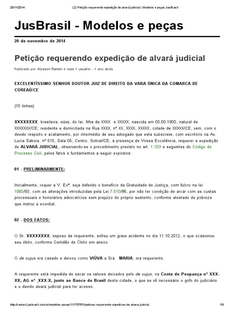 2 Petição Requerendo Expedição De Alvará Judicial Modelos