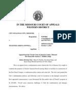 City of Kansas City v. Powell, No. WD 76861 (Missouri App., W.D. Oct. 7, 2014)
