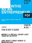 12 Months as an Entrepreneur