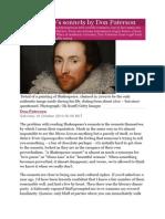 shakespeare sonnets - d patterson article