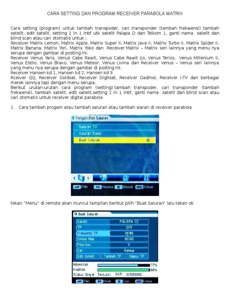 setting program tv receiver matrix