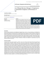 Investigation the Effects of Human Resource Managers Competencies Framework for Iranian Automobile Companies on Performance of Human Resources scope