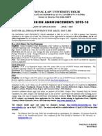 NLU Delhi Admission Announcement 2015 16