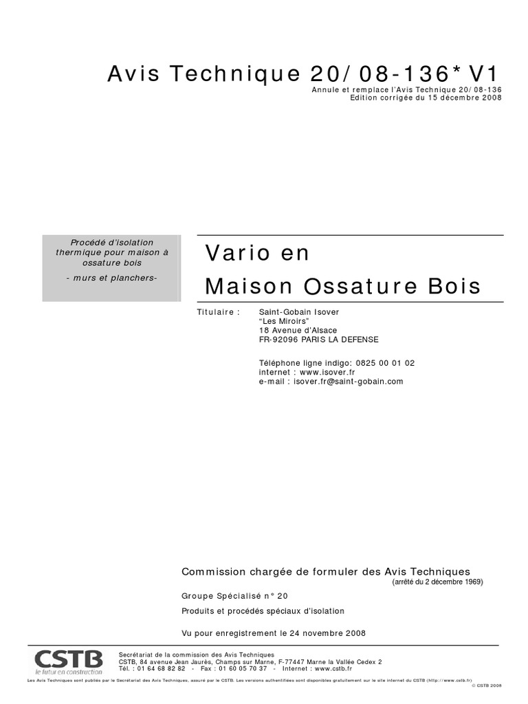 Maison Bois Avis avis technique ossature bois isolation thermique 1 cstb