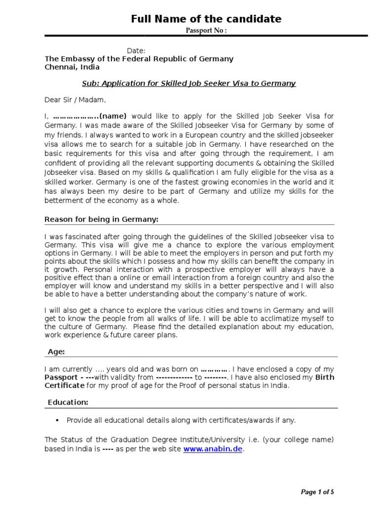 Sample cover letter travel visa rsum madrichimfo Choice Image