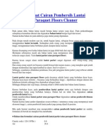 Cara Membuat Cairan Pembersih Lantai Parket Atau Paraquet Floors Cleaner
