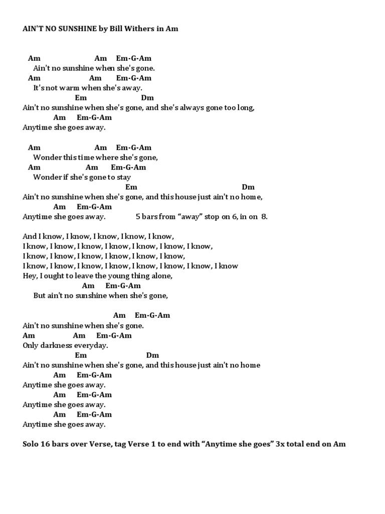 Ain T No Sunshine Chord Chart Intro a minoram e minorem g+g. scribd