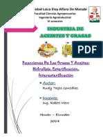 Hidrolisis, Esterificacion, Interesterificacion_RudyTagle