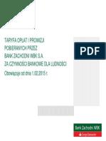 BZWBK Tabela Opłat I Prowizji Od 1-02-2015 Roku