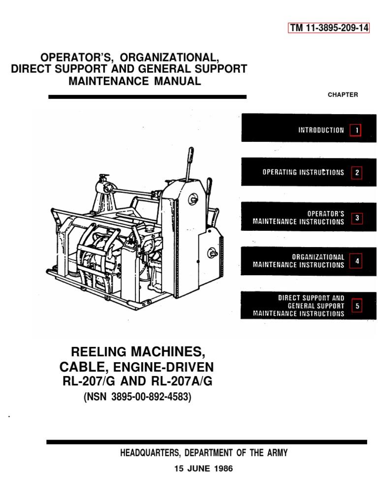 Tm 11 3895 209 14 Reeling Machine Cable Rl 207a G Belt M880 Wiring Diagram Mechanical Troubleshooting
