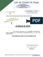 COMUNICADO ALTERAÇOES.N.º 5 FUTEBOL 7_ALTERAÇÃO DE JOGOS MARCADOS ENTRE 25 e  26 OUTUBRO 2014