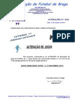 COMUNICADO ALTERAÇÕES N.º 38 FUTEBOL 11_ALTERAÇÃO DE JOGOS MARCADOS ENTRE 1 e 2 NOVEMBRO 2014