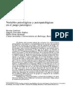 Variables Psicologicas y Psicopatologicas Del Juego