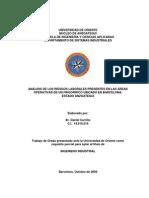 Análisis de Los Riesgos Laborales Presentes en Las Áreas Operativas de Un Frigorífico Ubicado en Barcelona. Estado Anzoátegui