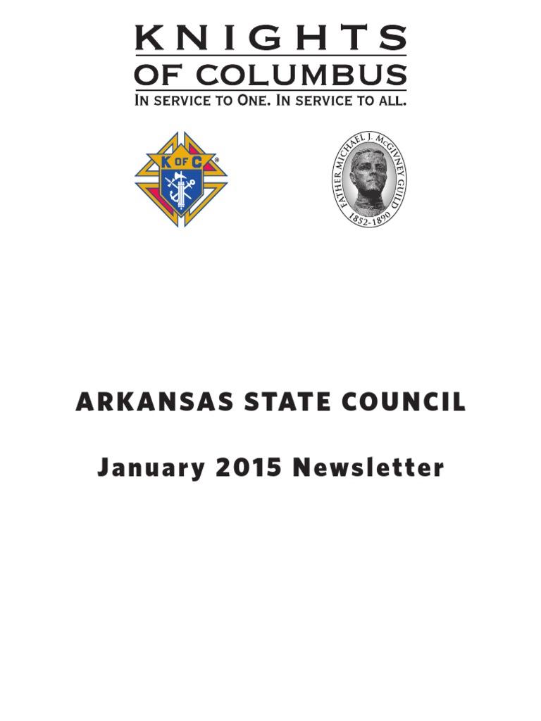 Arkansas Knights of Columbus Newsletter January 2015