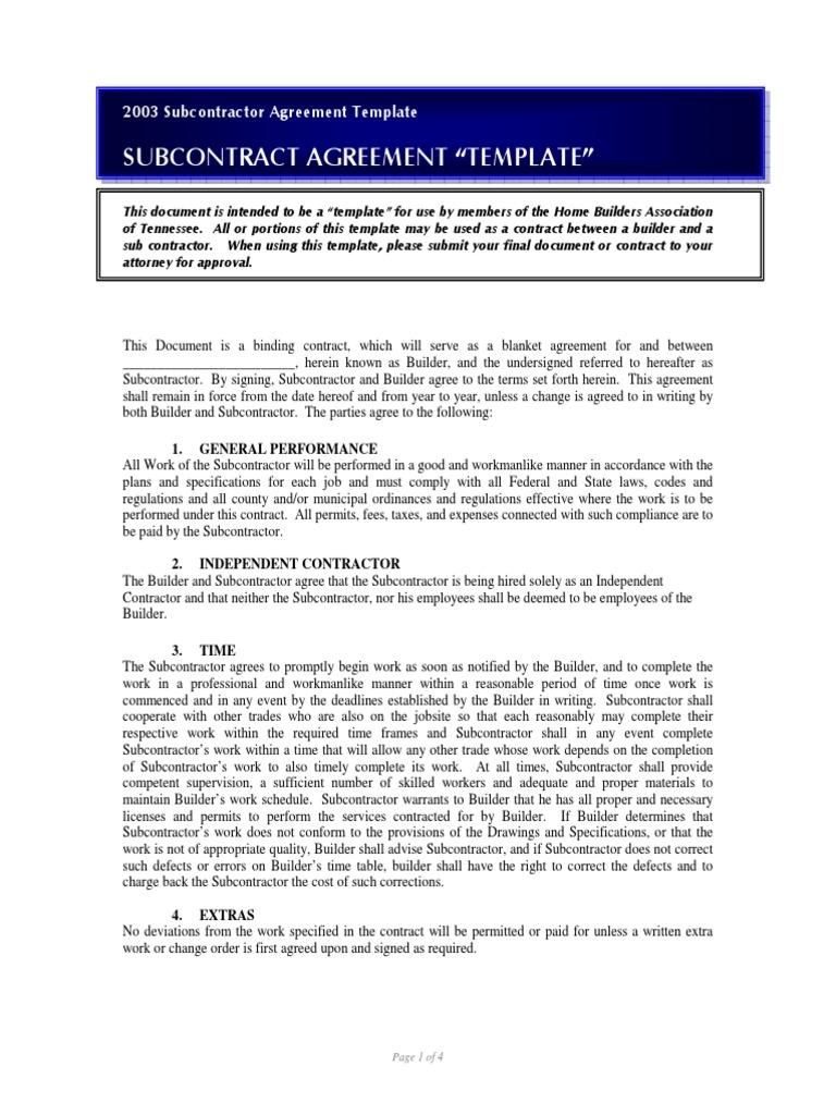 SUBCONTRACT AGREEMENT U201cTEMPLATEu201d | General Contractor | Indemnity