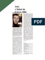 Nobel Elfriede Jelinek_Spirit-André Paillaugue_novembre 20…