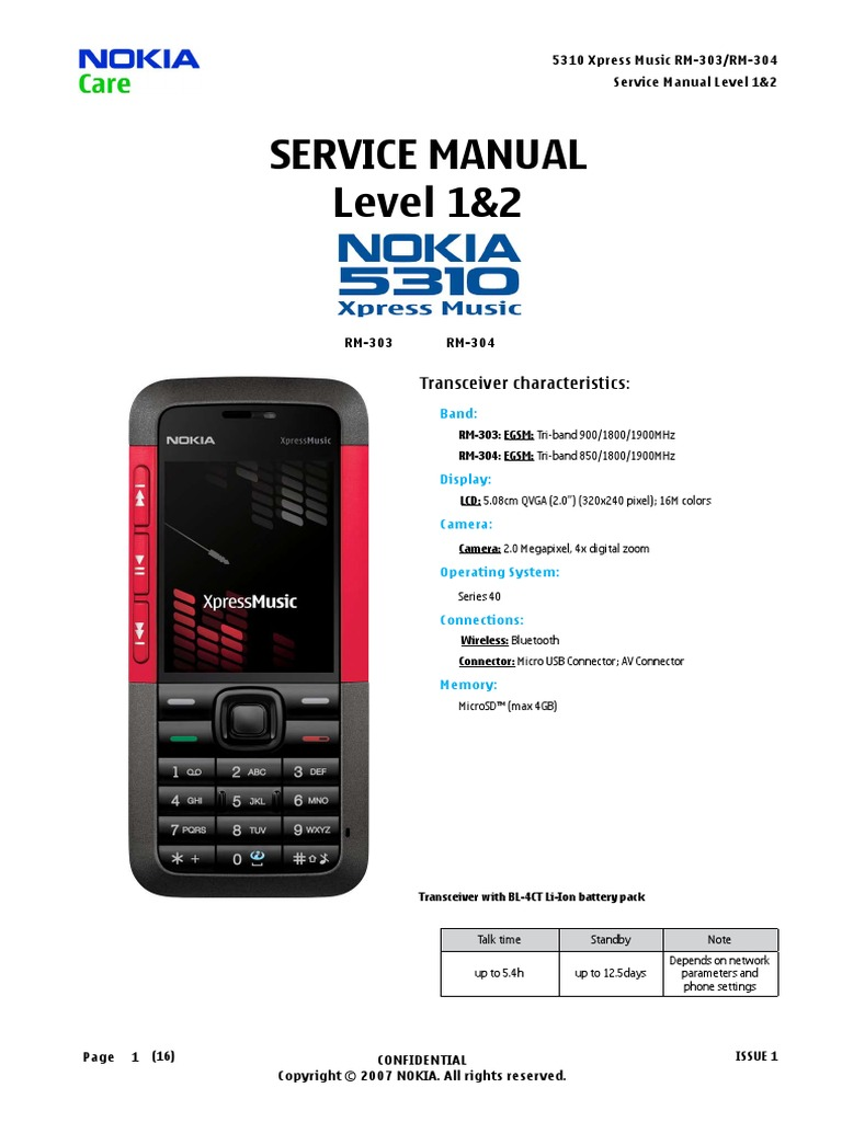 nokia 5310 service manual level 1 and 2 electrostatic discharge rh scribd com Nokia 5300 XpressMusic Nokia Xpressmusic 5233