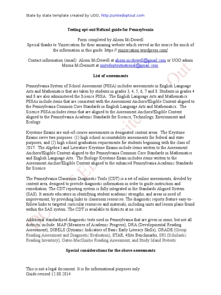 Pennsylvania Opt Out Guide January 3 2015   Standardized Tests   Test  (Assessment)