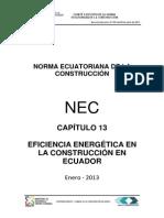 Nec2011-Cap13-Eficiencia Energetica_en La Construccion en Ecuador-2013