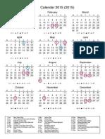 kalendar mengikut tahun