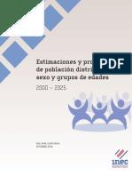 Estimaciones y proyecciones  de población distritales por sexo y grupos de edades