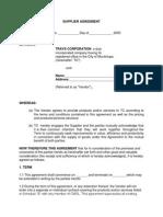 Supplier Agreement - Draft