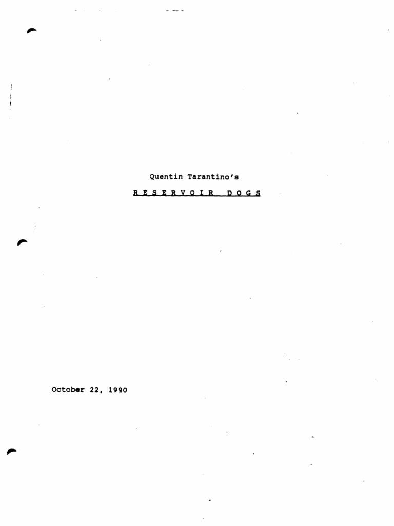 Reservoir Dogs Screenplay Pdf