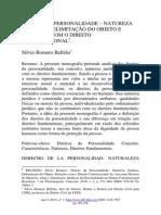 DIREITO DA PERSONALIDADE – NATUREZA JURIDICA, DELIMITAÇÃO DO OBJETO E RELAÇÕES COM O DIREITO CONSTITUCIONAL