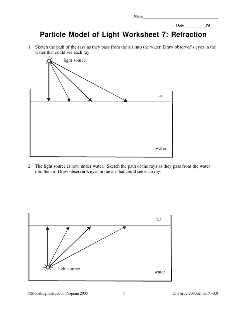 Refraction Worksheet 1