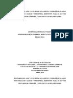 FACTORES QUE AFECTAN EL POSICIONAMIENTO   ESTRATÉGICO AGRO  INDUSTRIAL DE CALIDAD Y AMBIENTAL