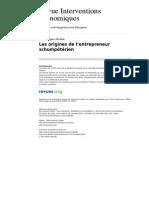 Les Origines de l Entrepreneur Schumpeterien (1)