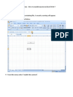 How to Enable Macros in Excel2010