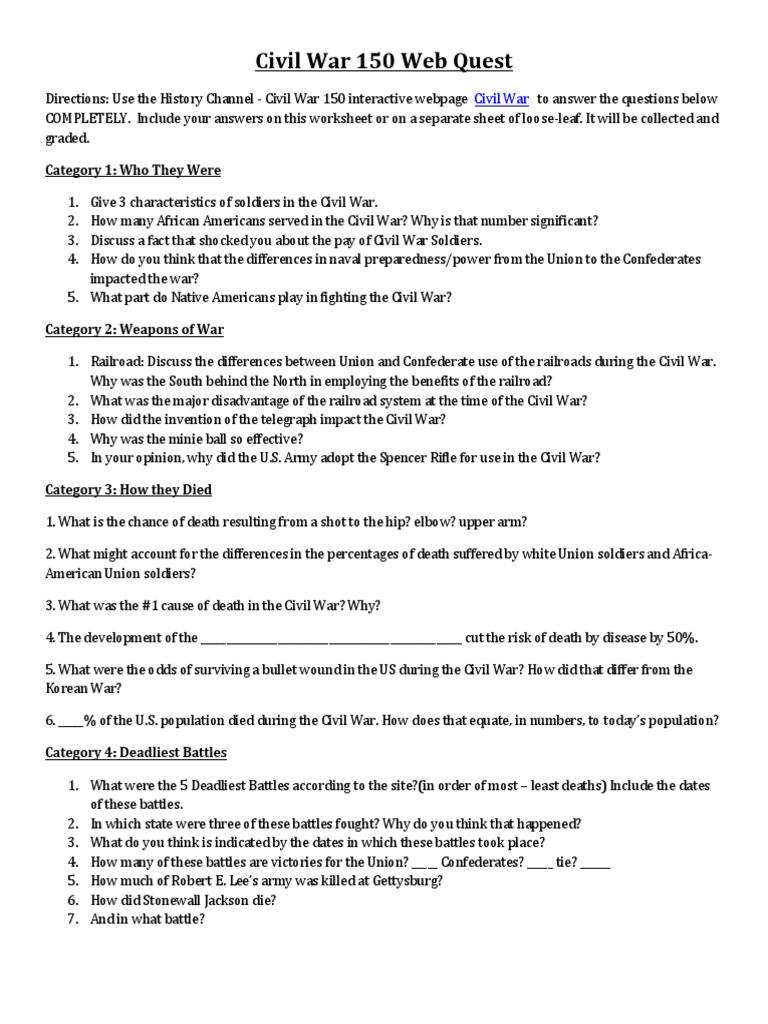 worksheet Civil War Worksheet civil war 150 webquest american union war