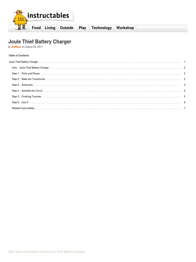 Joule Thief Battery Charger Inductor Voltage Transformer Wiring Diagram