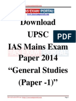 Download UPSC IAS Mains Exam Paper 2014 General Studies Paper 1 Www.iasexamportal.com