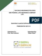 Summer Internship Project in Idbi Fedral Life Insurance