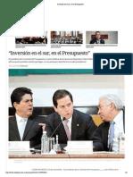 """29-11-14 """"Inversión en el sur, en el Presupuesto"""""""