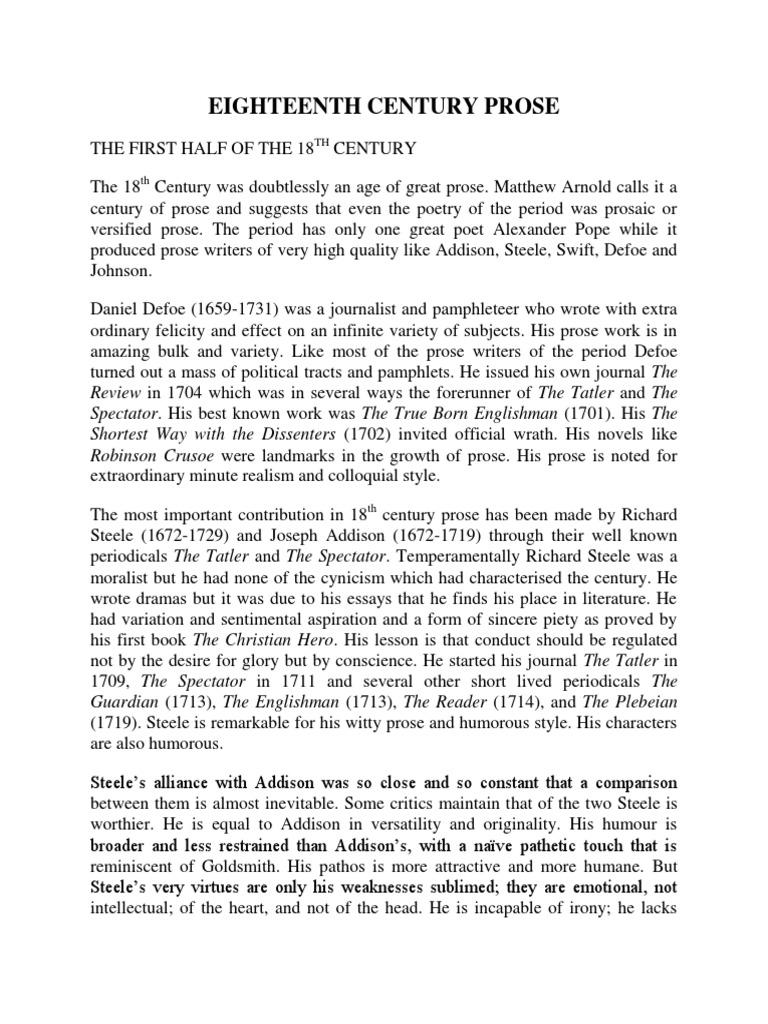 eighteenth century prose thomas carlyle samuel taylor coleridge