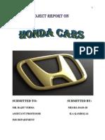Honda Cars Project Report 2