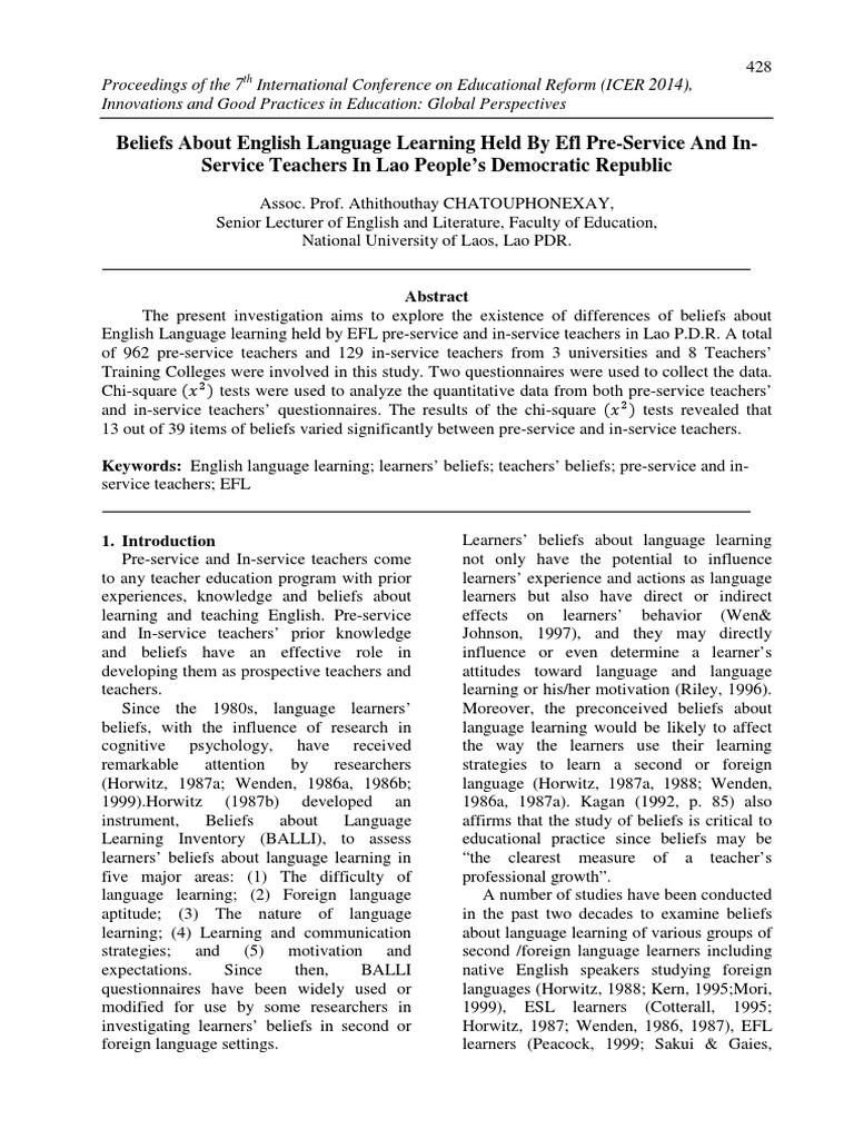 Beliefs About English Language Learning Held By Efl Pre