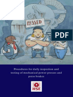 Procedures for daily inspection and testing of mechanical power presses and press brakes