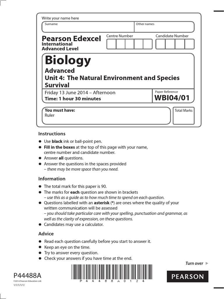 Edexcel IAL Biology Unit-4 June 2014 Question Paper | Spruce