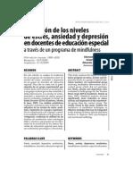 Reducción de los niveles de estrés, ansiedad y depresión en docentes de educación especial a través de un programa de mindfulness