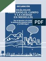 Declaracion Dialogos Campo Ciudad Medellín.