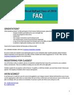 Class of 2018 End of Summer FAQ