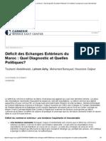 Déficit Des Echanges Extérieurs Du Maroc _ Quel Diagnostic Et Quelles Politiques_-la Fondation Carnegie Pour La Paix Internationale